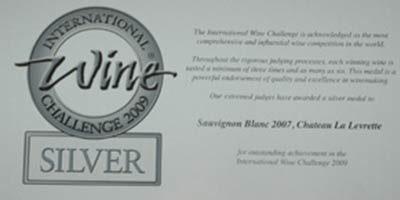 Médaille d'Argent au concours International Wine Challenge 2009